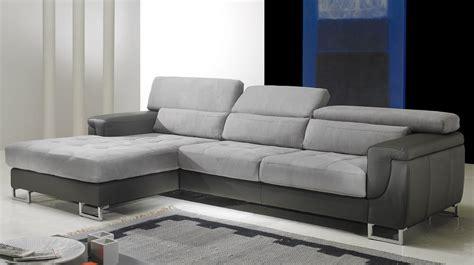 canapé d 39 angle gauche cuir microfibre gris pas cher