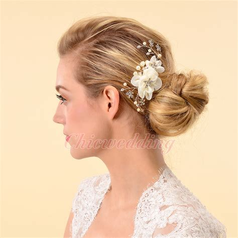 Elegant Bridal Hair Comb Silk Flower Crystal Headpiece
