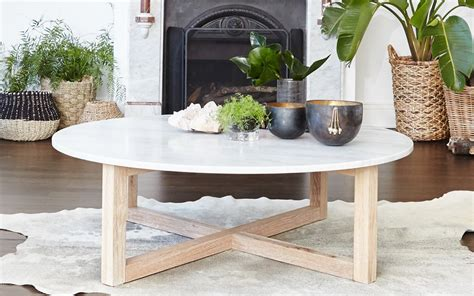 Solid marble top round coffee table lounge living room modern gold legs. Kara Round Marble Coffee Table - Totem Road