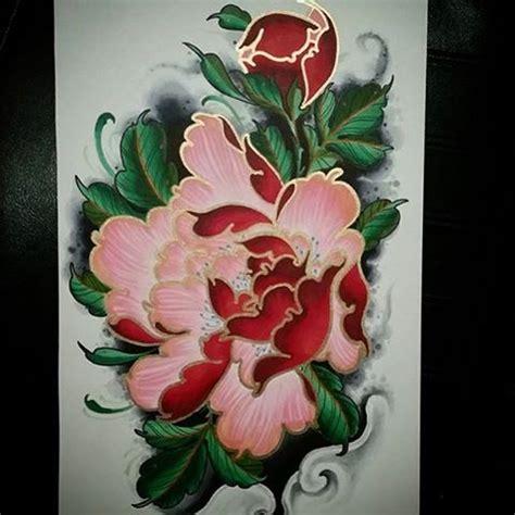 japanese peony flower tattoo images  pinterest