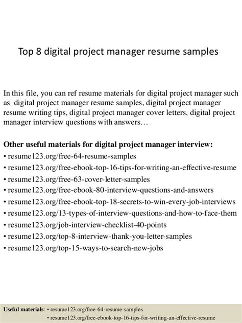 Digital Project Manager Resume by Top 8 Digital Project Manager Resume Sles