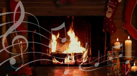 cozy yule log fireplace with crackling