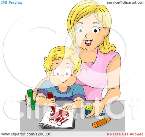 Cartoon Of A Blond Caucasian Mother Coloring With Her