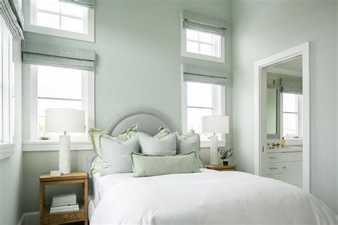green and gray bedroom gray arch headboard with blue and green shams cottage