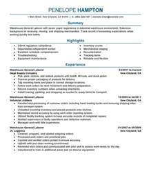 general overview for resume best general labor resume exle livecareer