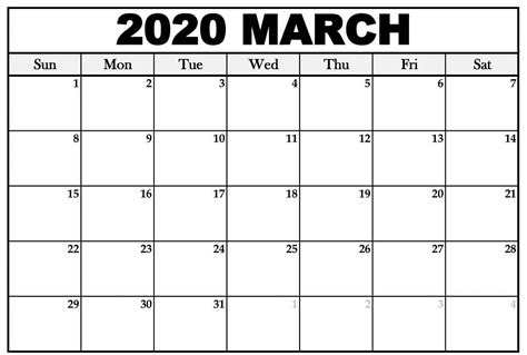printable calendar march  large sheet