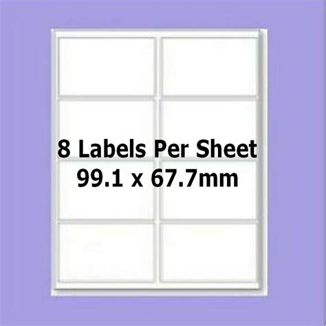 blank self adhesive labels 8 per a4 sheet l7165