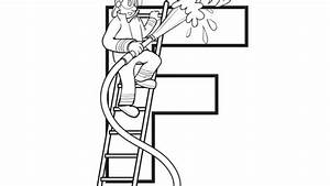 firefighter coloring page - alphabet series f firefighter