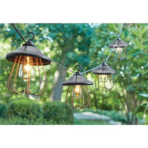 outdoor patio string lights hton bay 8 light decorative bronzed patio cafe string