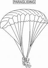 Parachute Template Coloring Paragliding sketch template