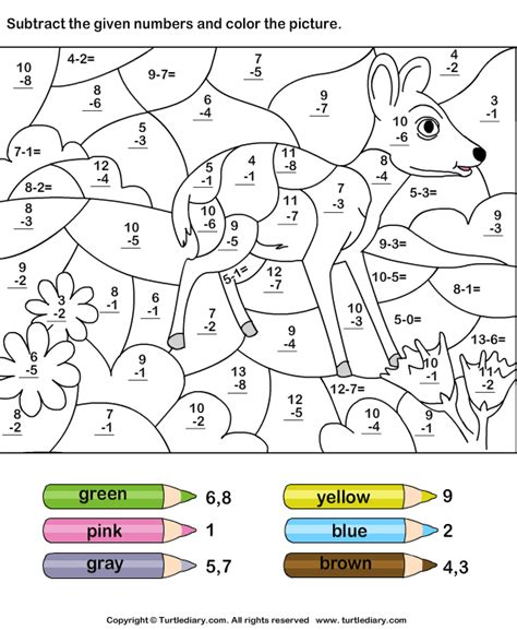 color  subtracting numbers math coloring worksheets
