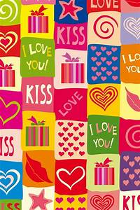 I love you, kiss, romantic, colorful 640x960 iPhone 4 (4S ...