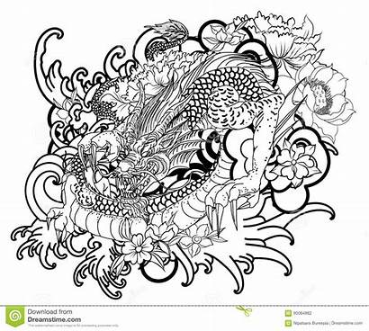 Dragon Tattoo Coloring Japanese Hand Drawn Vector