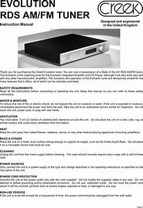 Creek Audio Evolution Rds Users Manual Tuner Revision June