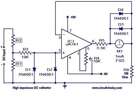 High Impedance Voltmeter Electronic Circuits