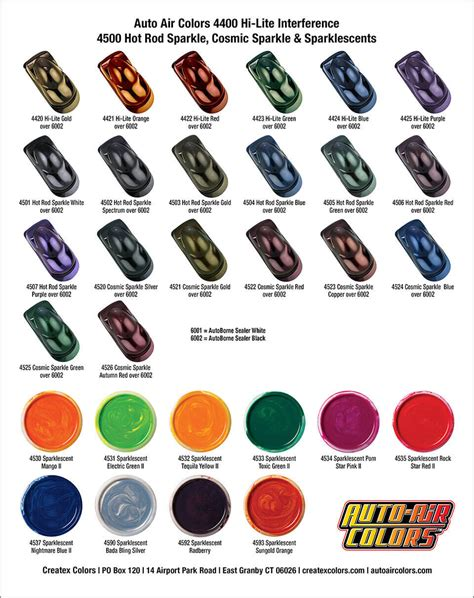 Autoair Color Charts  Airbrush Paint Direct