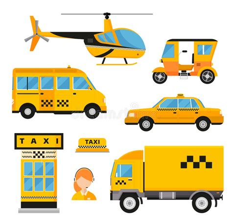 Different Types Of Taxi Transport. Cars Stock Vector