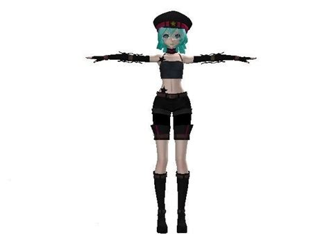 model fully rigged female anime character punk vr ar