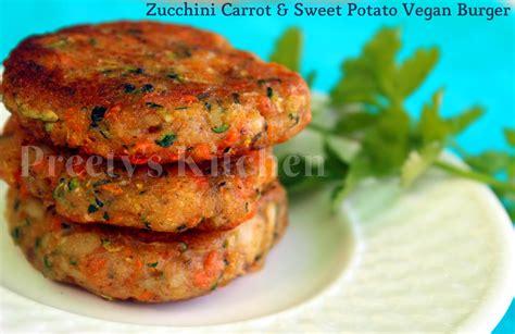 vegan burger recipe preety s kitchen zucchini carrot sweet potato vegan burger patty tikki