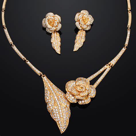 fashion wedding dress 2015 jewelery sets rose flower design fine jewelry 18k gold plated