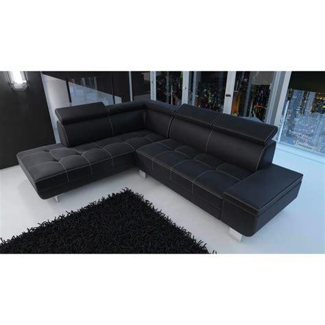 canape d angle simili cuir canapé d 39 angle moderne daylon simili cuir noir et coutures