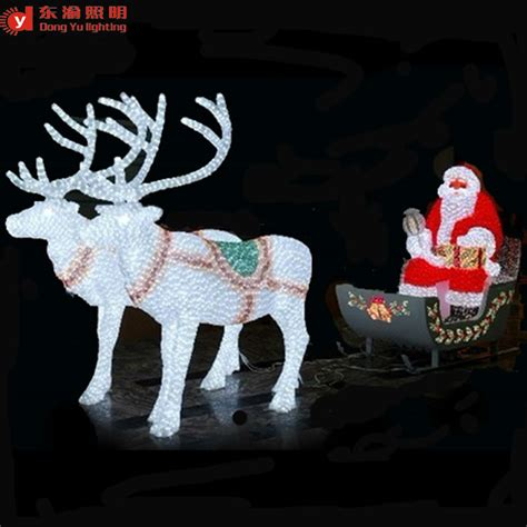 outdoor decoration led lighted reindeer carriage