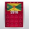 Grenada calendar of 2016 Vector | Free Download