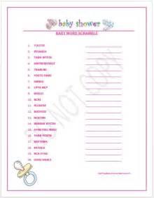 Girl Baby Shower Word Scramble Games