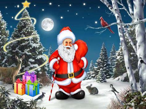 santa claus and christmas trees happy holidays