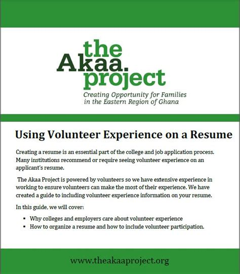 Volunteer Experiences On Resume by How To Organize Volunteer Experience On A Resume The Akaa Project