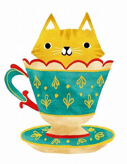 Cat Illustration Teacup Cup Tea Cats Kitty