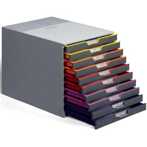 porte carte de visite de bureau durable module de classement varicolor 10 tiroirs 7610 27