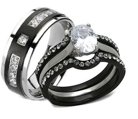 his and hers wedding rings 4 pc black stainless steel