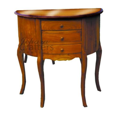 half circle console table with drawers teak console half round table 3 drawer