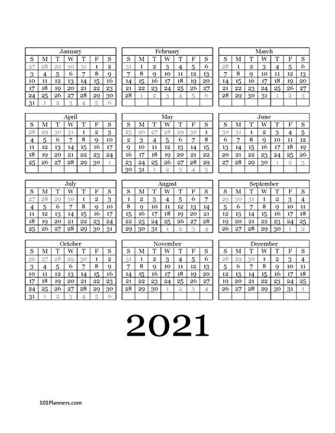 printable  yearly calendar   glance