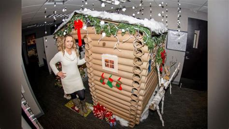 festive office workers turn  cubicles  winter