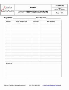 Project Charter Template Activity Resource Requirement A Project Management Document