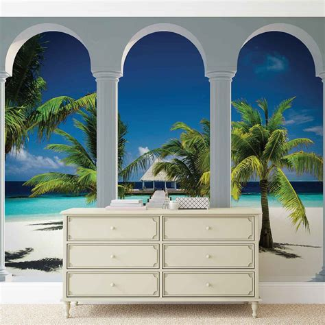 beach tropical paradise arches wall paper mural buy