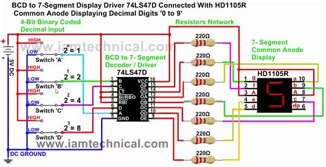 bcd to 7 segment display driver 74ls47d common anode displaying decimal digits 0 to 9