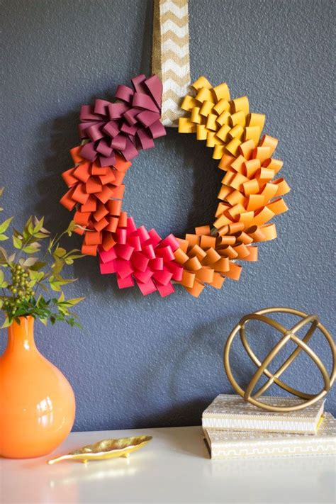 ombre paper loop wreath construction paper crafts