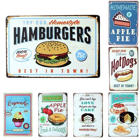 plaque metal cuisine vintage metal signs hamburgers dogs apple pie food