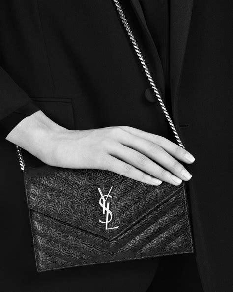 lyst saint laurent envelope chain wallet  powder textured matelasse leather