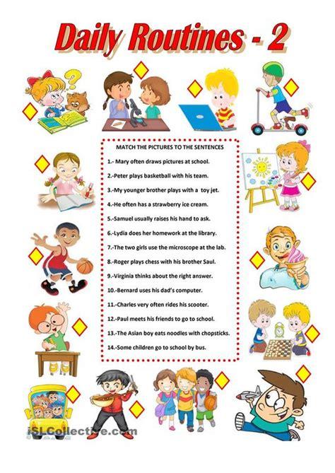 daily routines  worksheet  esl printable