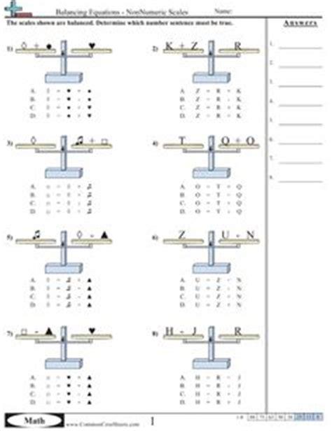 algebraic reasoning pan balance problems 10 worksheets