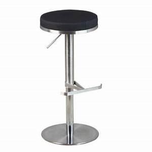 Chaise Bar Reglable : tabouret de bar avec assise ronde noire hauteur r glable avec repose pied mobilier de salle ~ Teatrodelosmanantiales.com Idées de Décoration