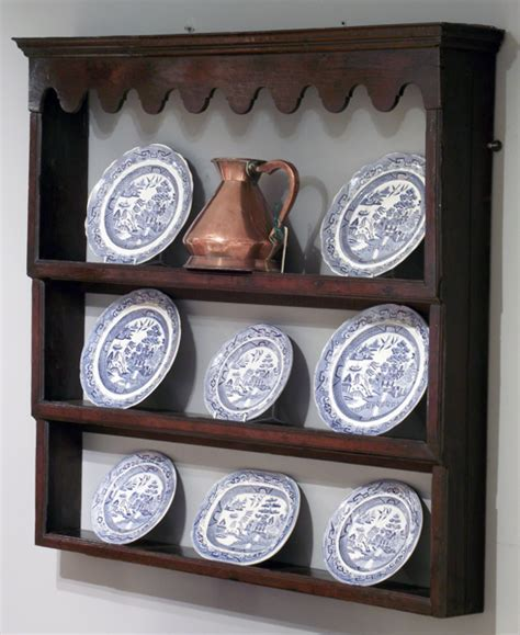 Antique oak delft rack, antique plate rack, antique