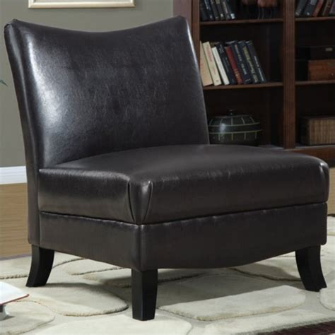 faux leather accent slipper chair in brown i 8046