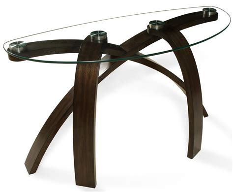 wolf table with glass table top sofa table with glass top and bent wood legs by magnussen