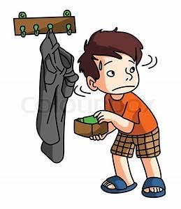 Boy Stealing money | Stock Vector | Colourbox