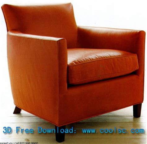 leather sofa chair high pad single 3d model